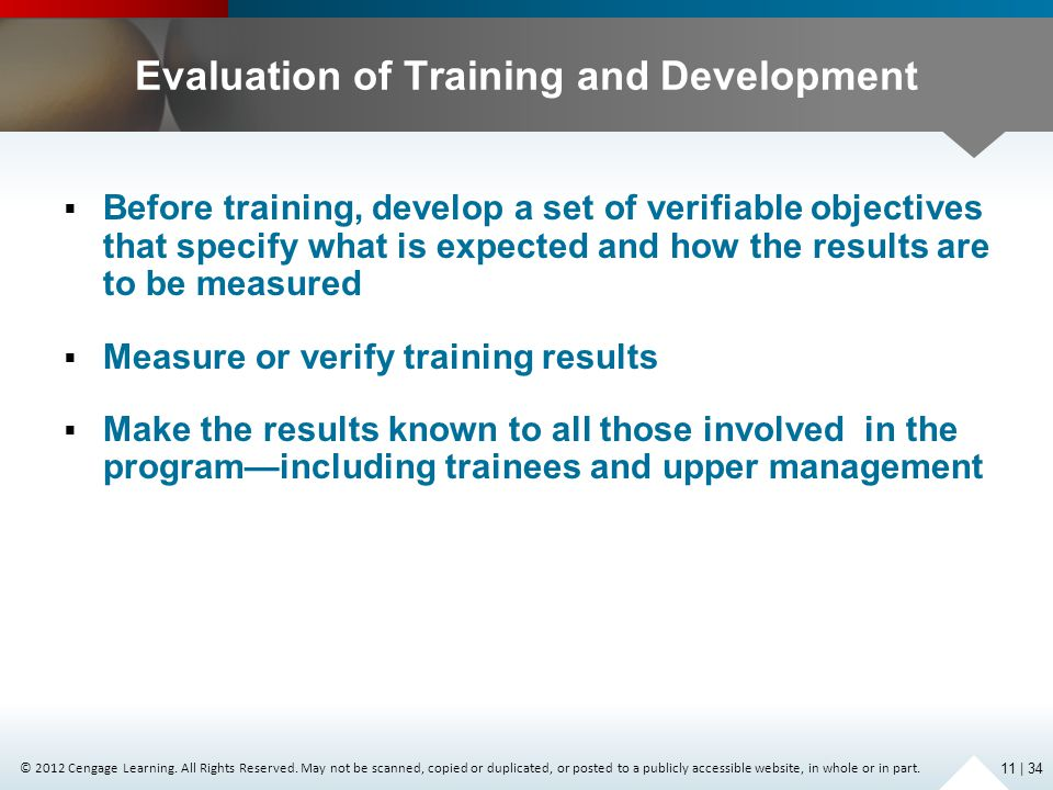 Evaluation of Training and Development