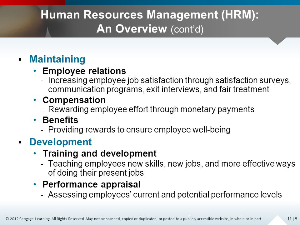 Human Resources Management (HRM): An Overview (cont'd)