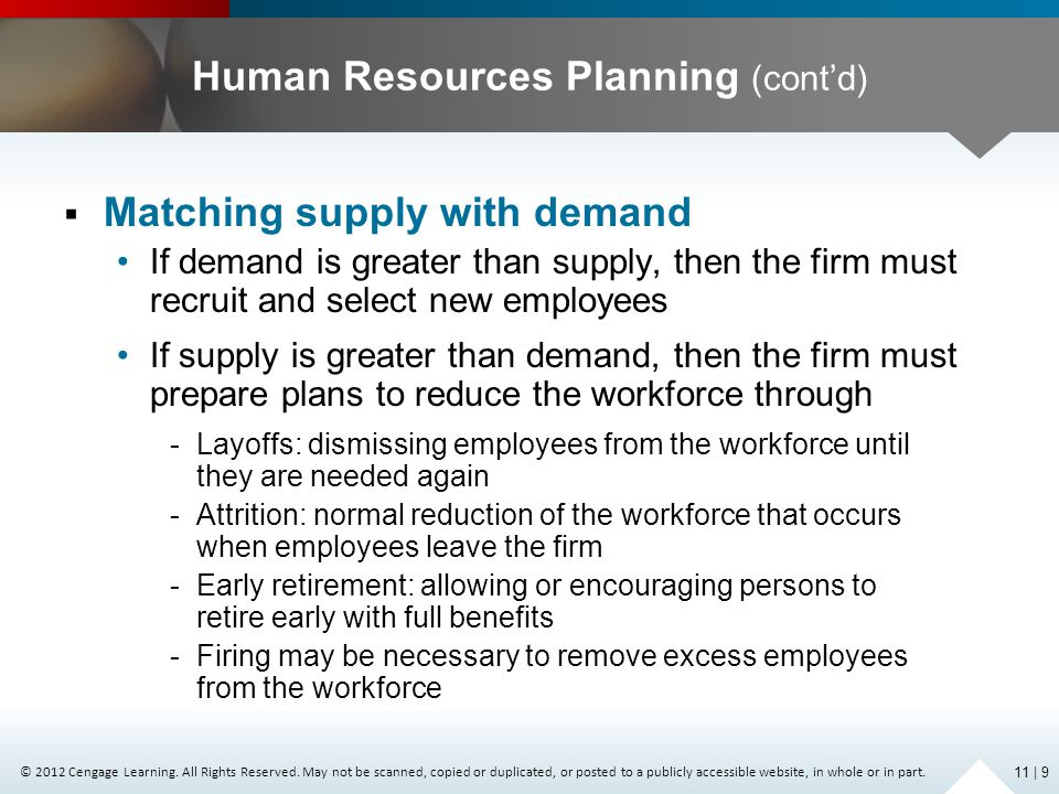 Human Resources Planning (cont'd)