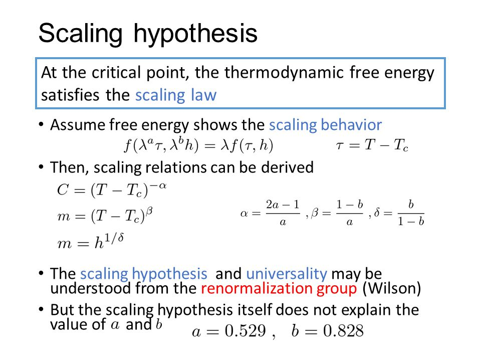 Scaling hypothesis Assume free energy shows the scaling behavior. Then, scaling relations can be derived.