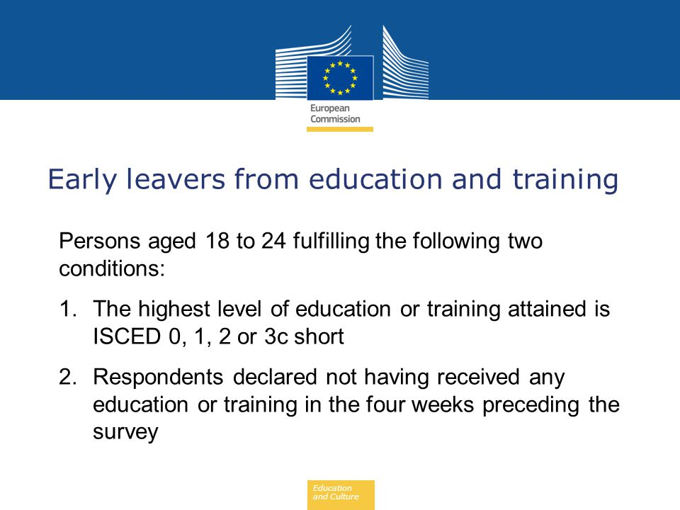 Early leavers from education and training