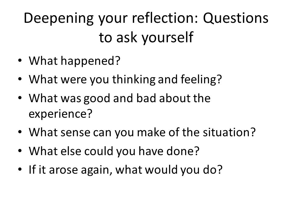 good reflection questions