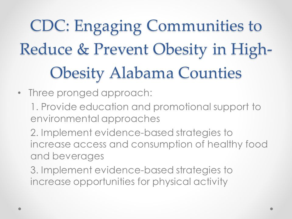 CDC: Engaging Communities to Reduce & Prevent Obesity in High-Obesity Alabama Counties
