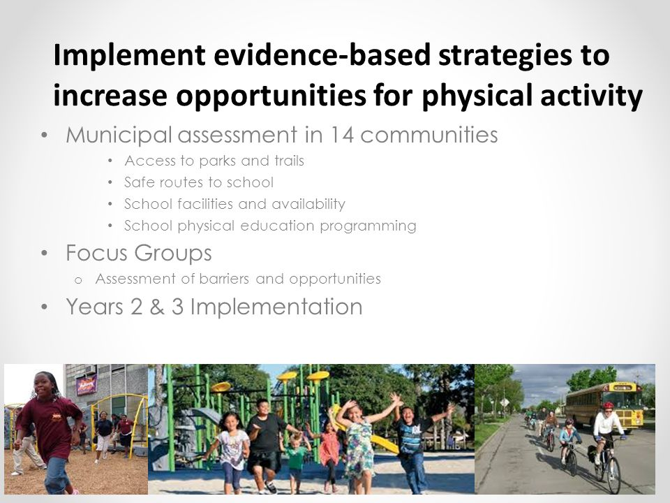 Implement evidence-based strategies to increase opportunities for physical activity