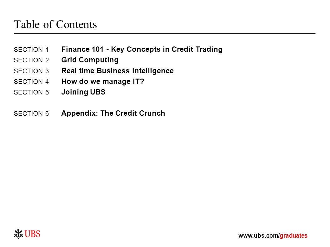 Table of Contents SECTION 1 Finance Key Concepts in Credit
