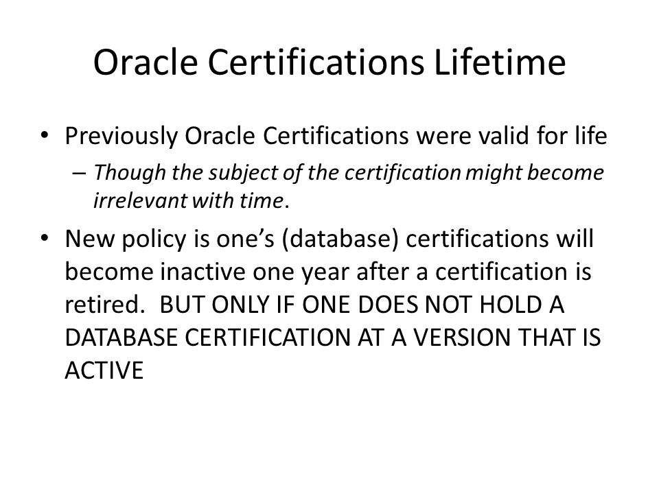 Oracle DBA Re-certification Requirement and 12c DBA OCP upgrades ...