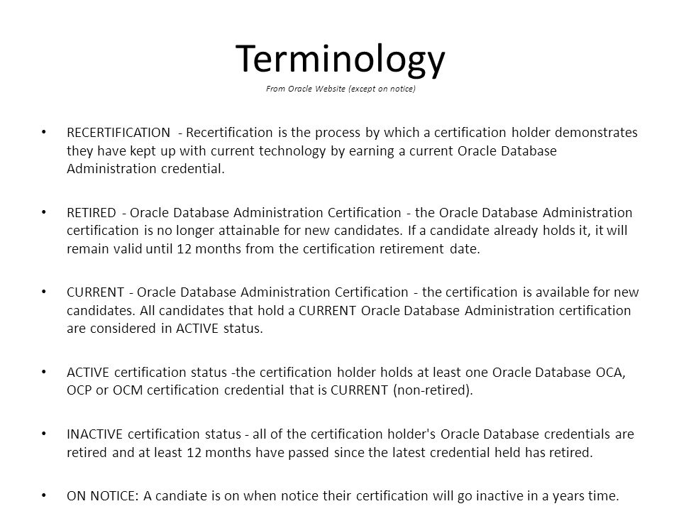 Oracle Dba Re Certification Requirement And 12c Dba Ocp Upgrades