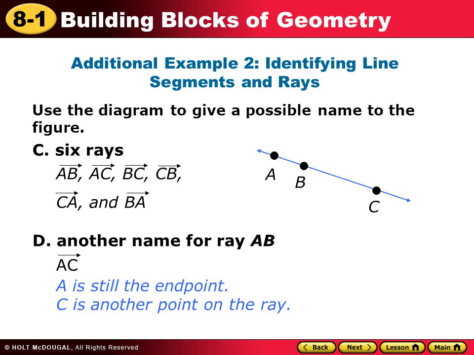Learn to describe figures by using the terms of geometry ppt additional example 2 identifying line segments and rays ccuart Choice Image