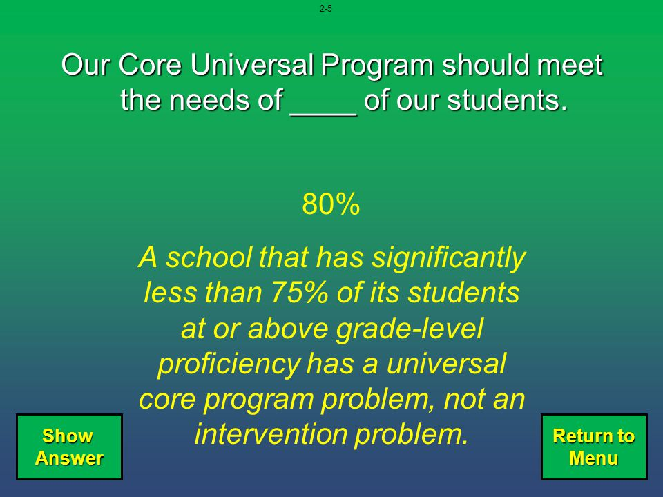 2-5 Our Core Universal Program should meet the needs of ____ of our students. 80%