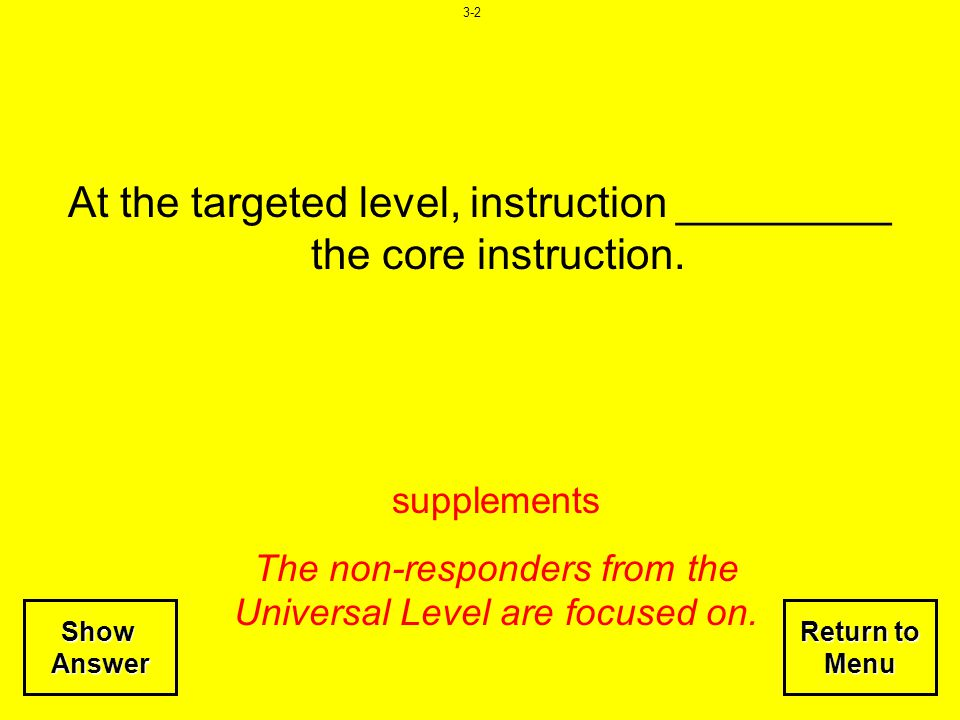 At the targeted level, instruction _________ the core instruction.