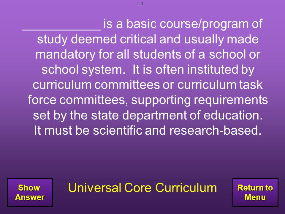 Universal Core Curriculum