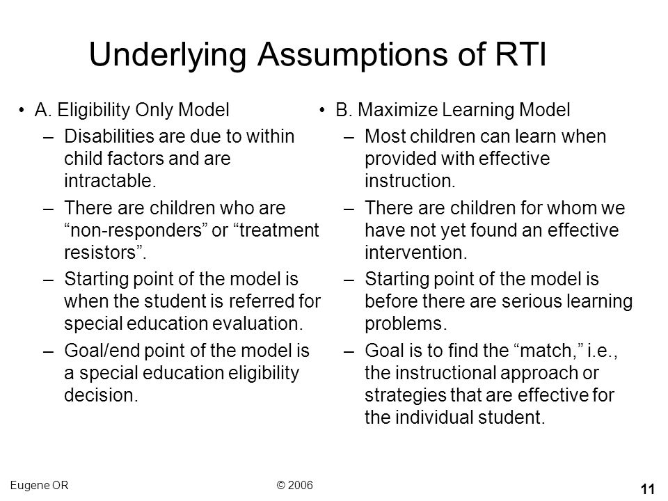 Underlying Assumptions of RTI