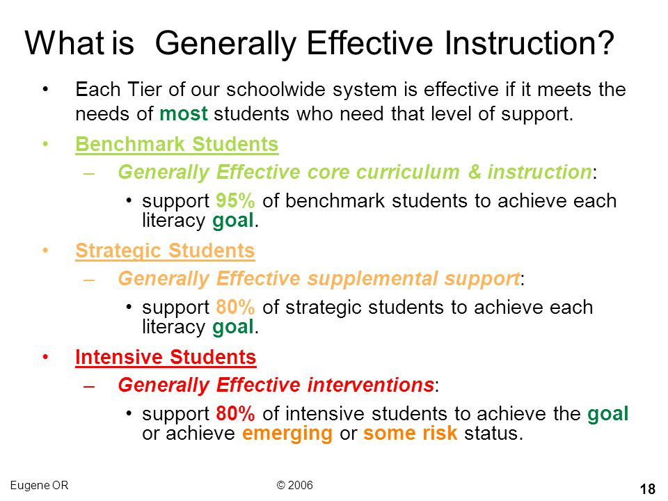 What is Generally Effective Instruction