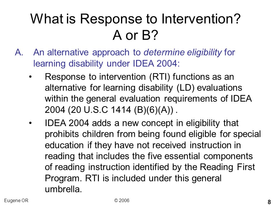 What is Response to Intervention A or B