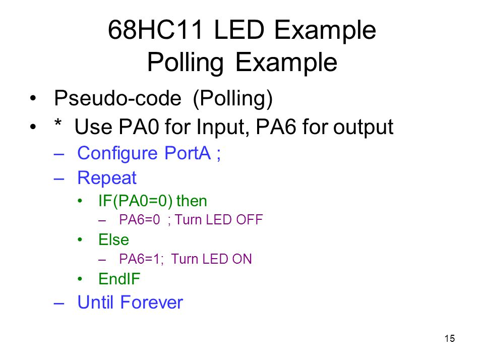 68hc11 Polling And Interrupts Ppt Video Online Download