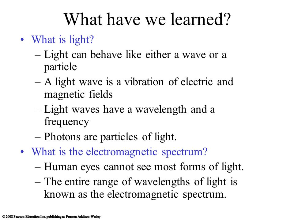 What have we learned What is light