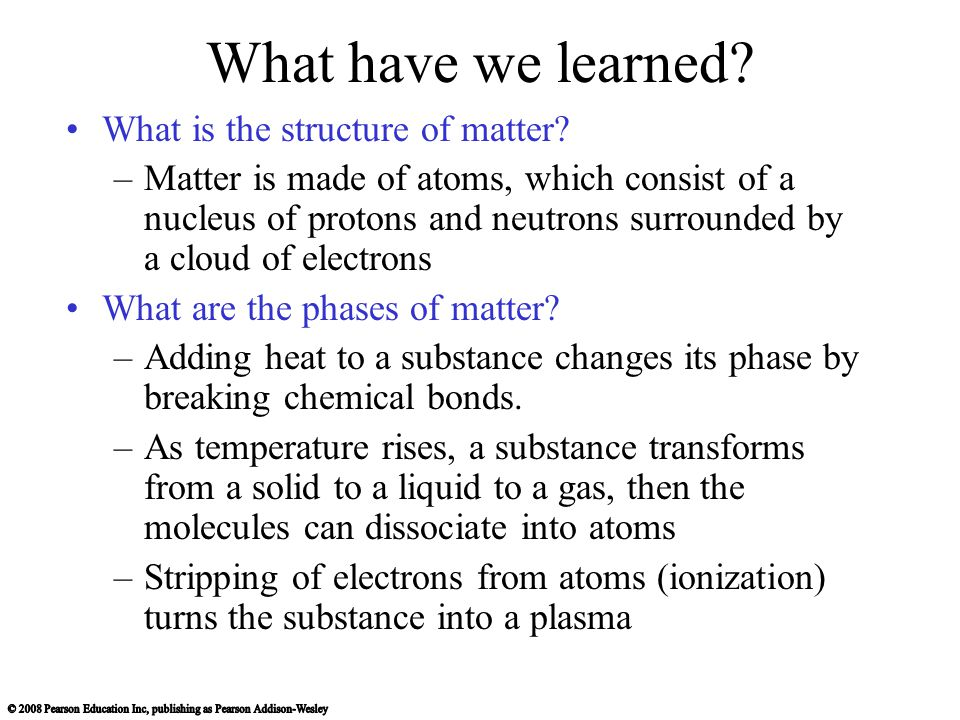 What have we learned What is the structure of matter