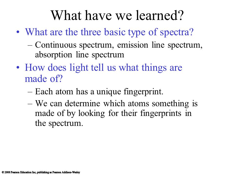 What have we learned What are the three basic type of spectra
