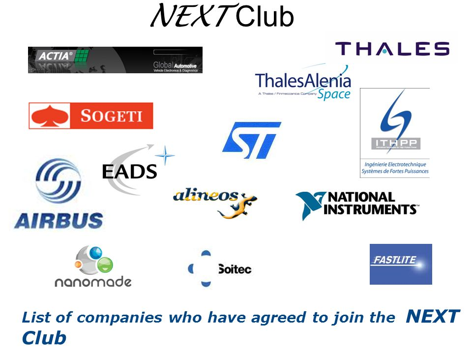 NEXT Club List of companies who have agreed to join the NEXT Club