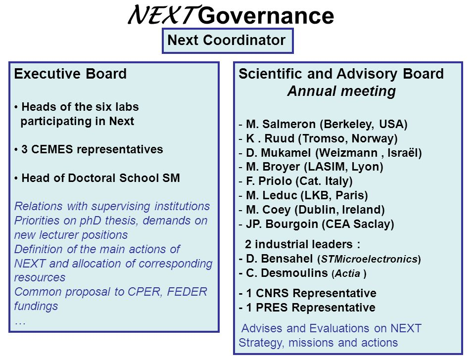 NEXT Governance Next Coordinator Executive Board