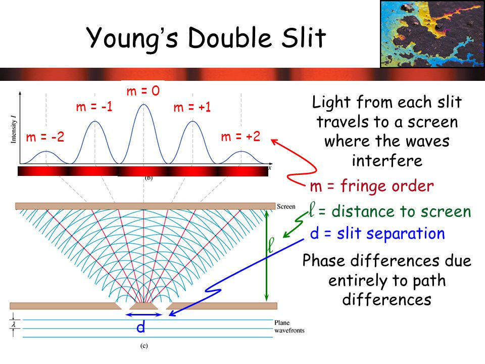 Young's Double Slit l = distance to screen l