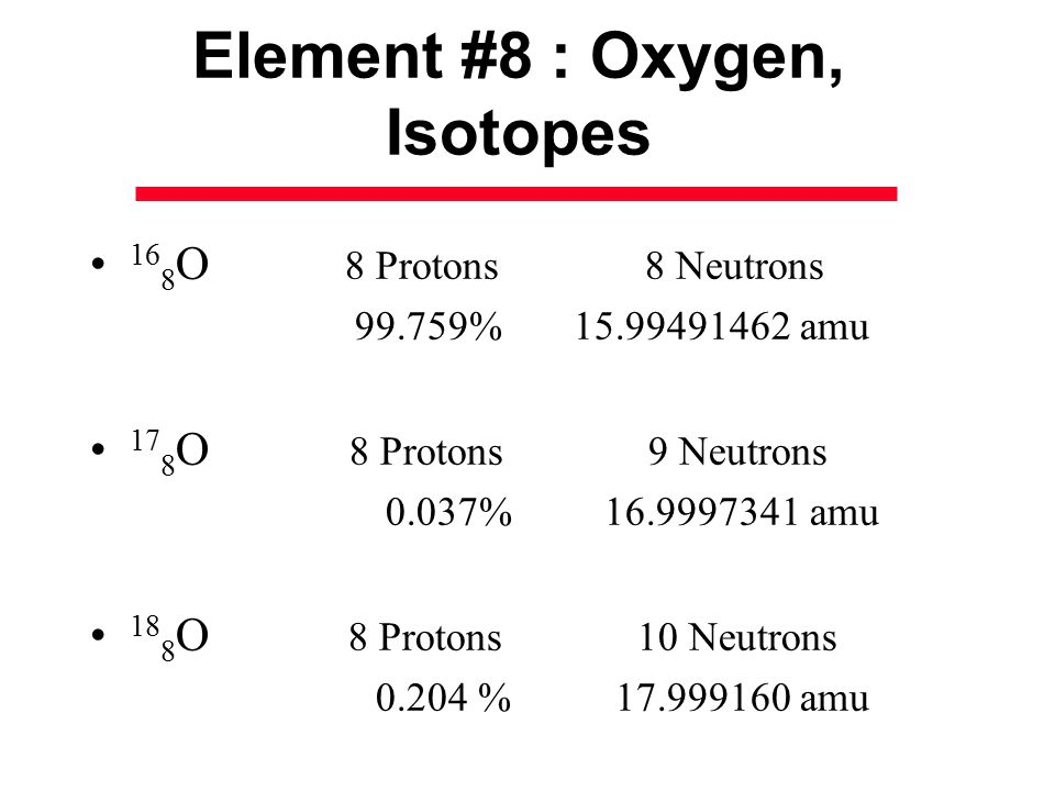 8 oxygen isotope neutrons with What is