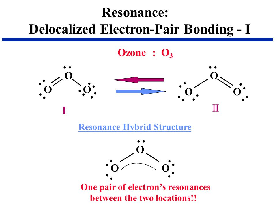 Resonance: Delocalized Electron-Pair Bonding - I. Ozone : O O. O