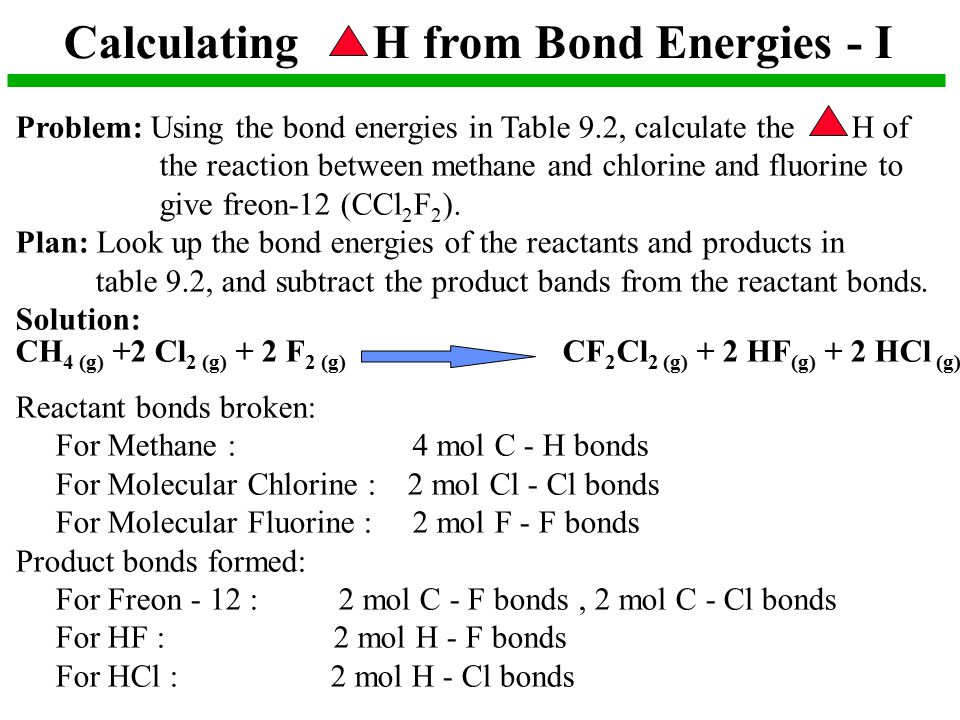 Calculating H from Bond Energies - I