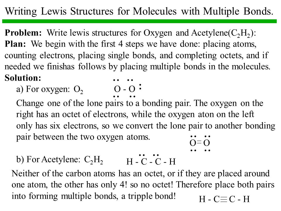 Writing Lewis Structures for Molecules with Multiple Bonds.
