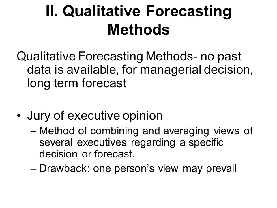 forecasting method Managers use forecasts for budgeting purposes a forecast aids in determining volume of production, inventory needs, labor hours required, cash requirements, and financing needs a variety of forecasting methods are available however, consideration has to be given to cost, preparation time, accuracy, and time period the manager must understand clearly the assumptions on which a particular [.
