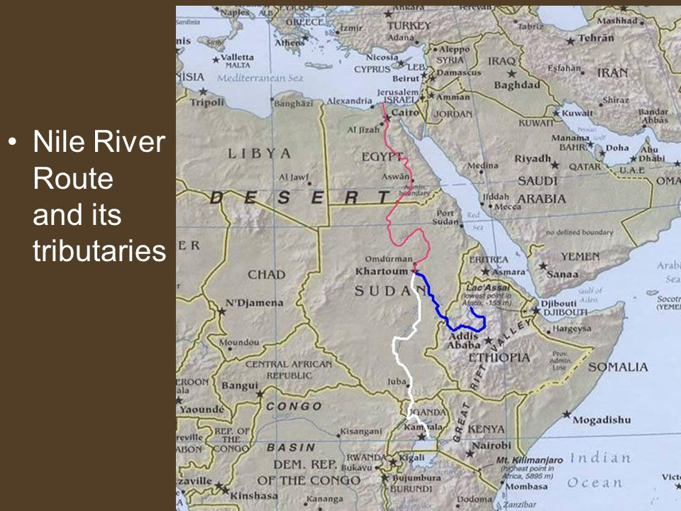 Nile River Route and its tributaries