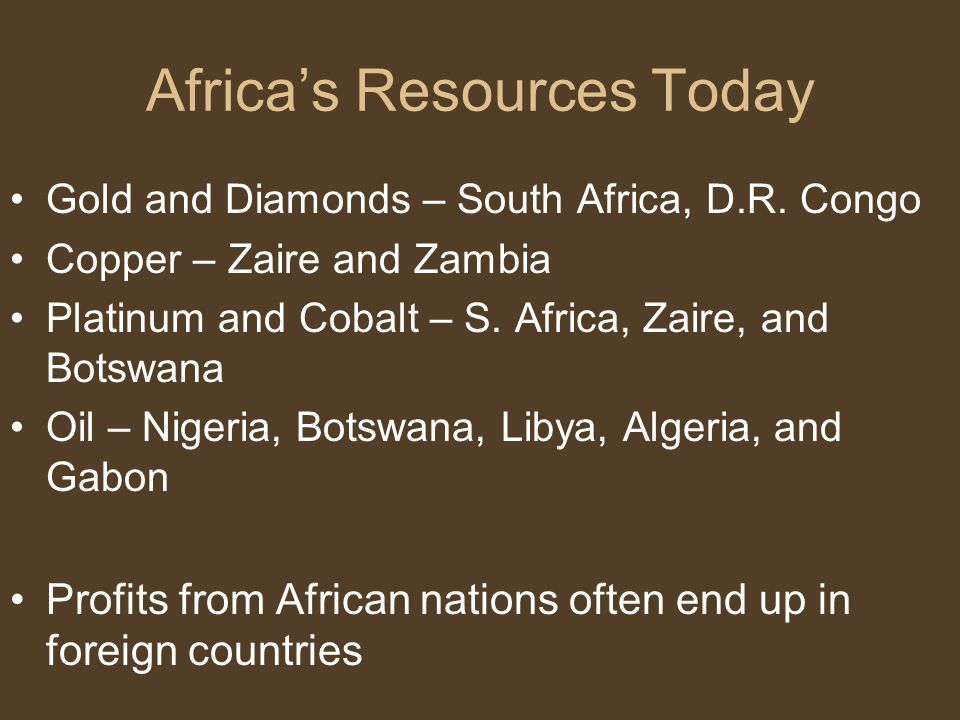 Africa's Resources Today