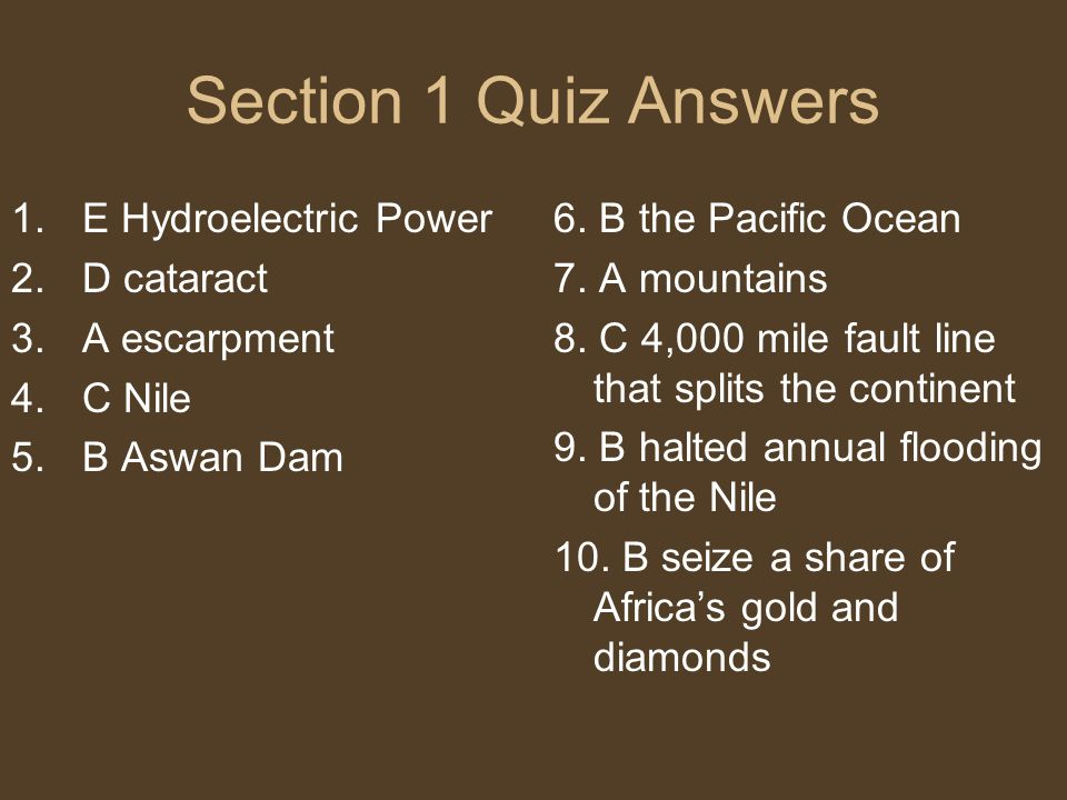 Section 1 Quiz Answers E Hydroelectric Power D cataract A escarpment