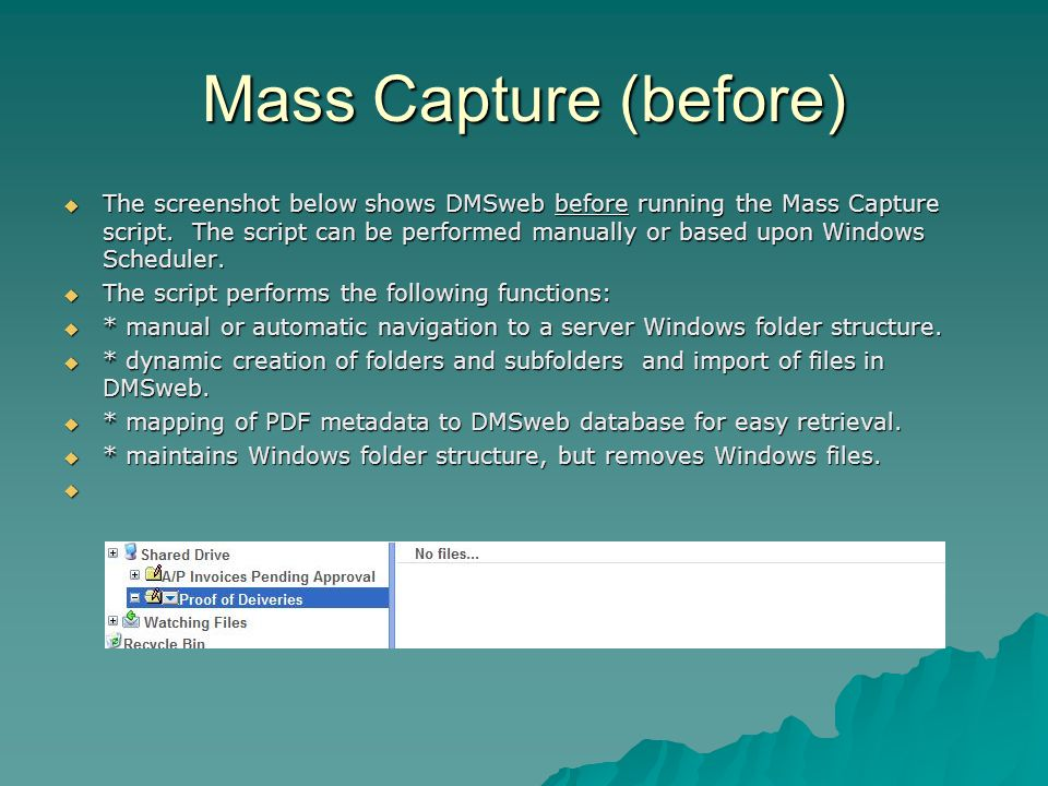 Mass Capture (before)