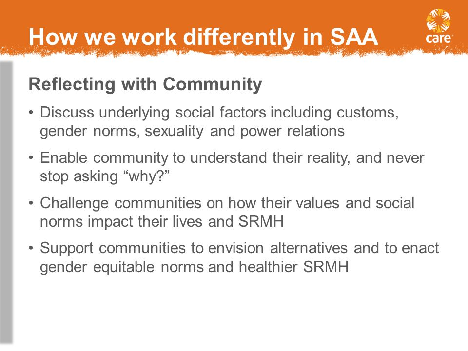 How we work differently in SAA