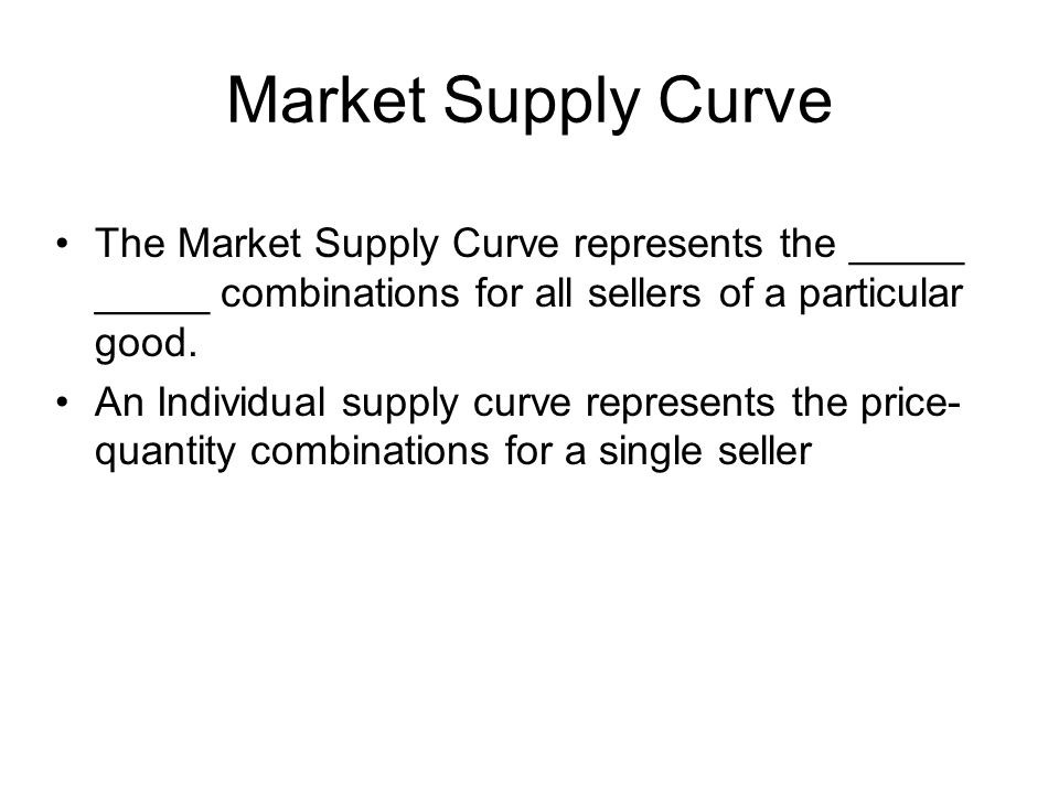 Market Supply Curve The Market Supply Curve represents the _____ _____ combinations for all sellers of a particular good.