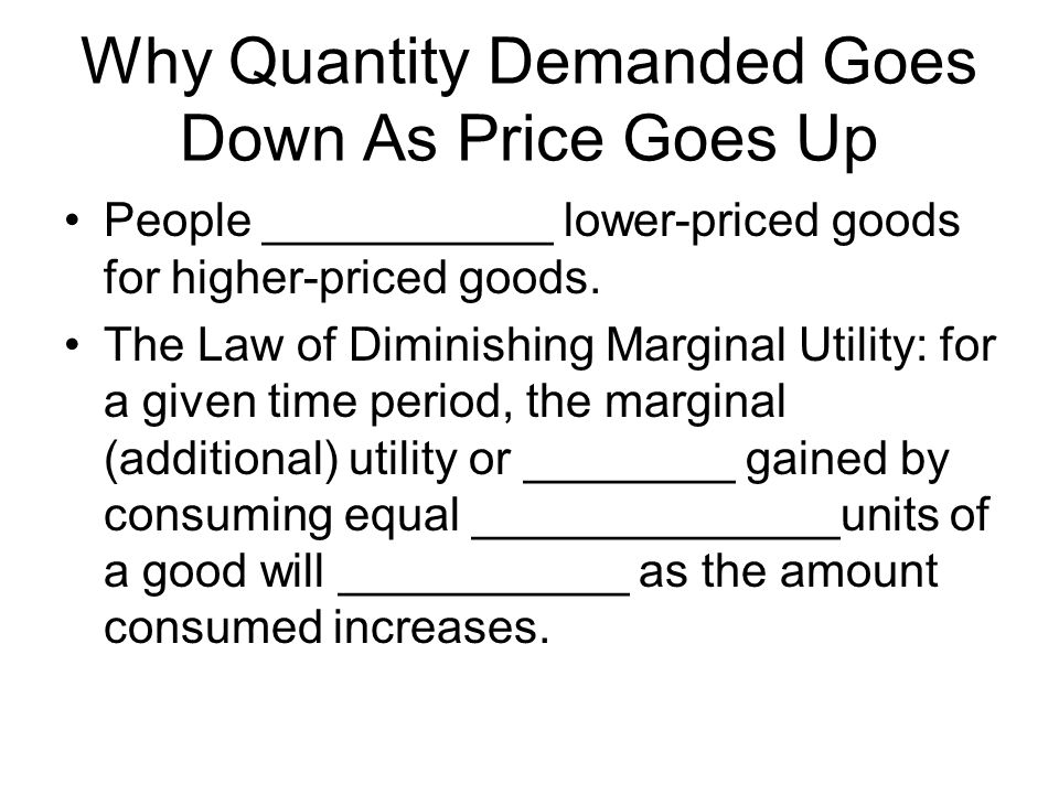 Why Quantity Demanded Goes Down As Price Goes Up