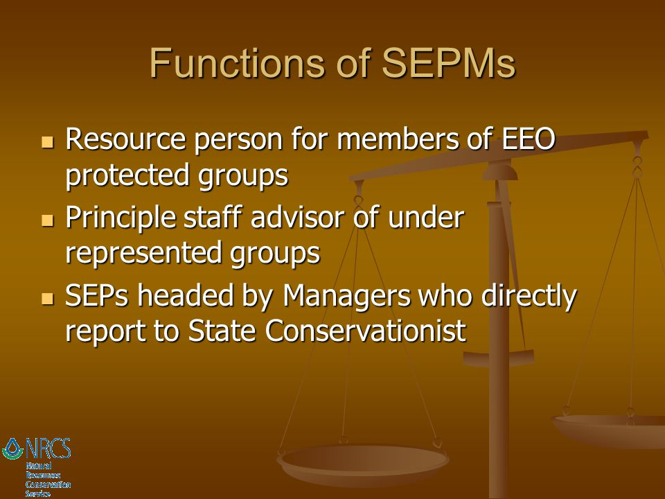 Functions of SEPMs Resource person for members of EEO protected groups