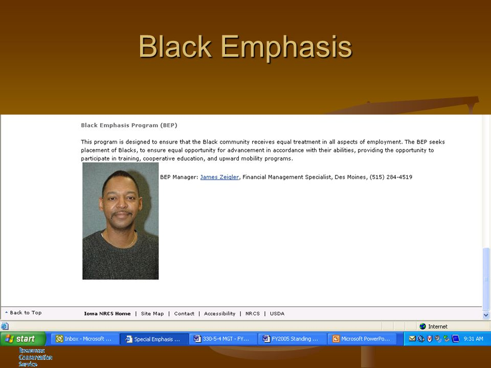 Black Emphasis James Zeigler Program Manager