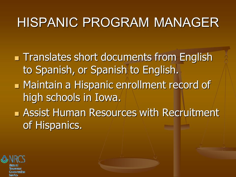HISPANIC PROGRAM MANAGER