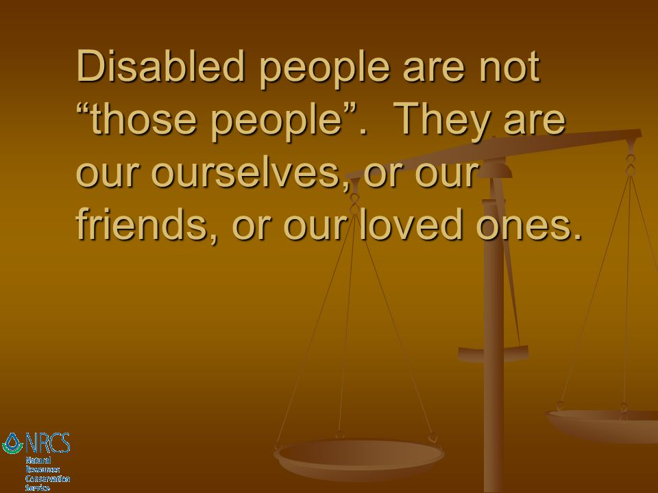 Disabled people are not those people