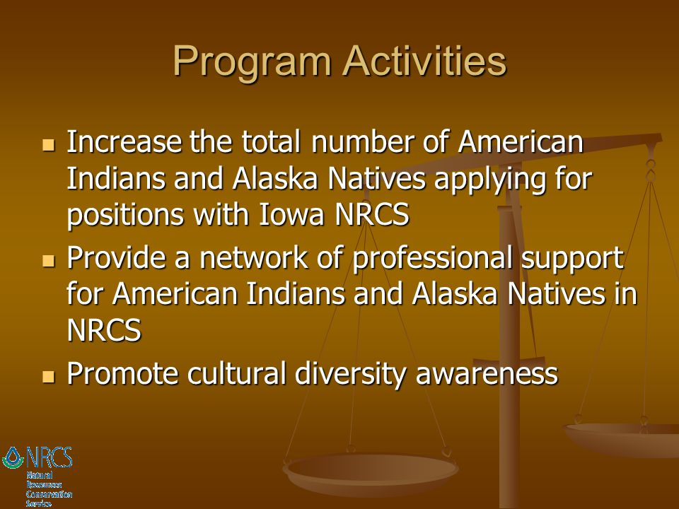Program Activities Increase the total number of American Indians and Alaska Natives applying for positions with Iowa NRCS.