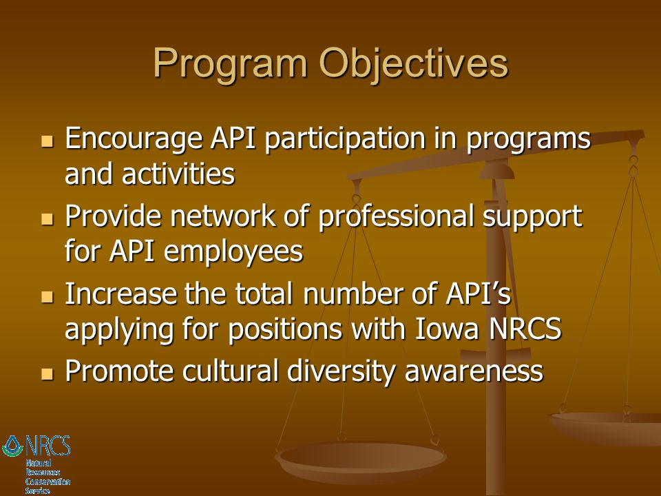 Program Objectives Encourage API participation in programs and activities. Provide network of professional support for API employees.