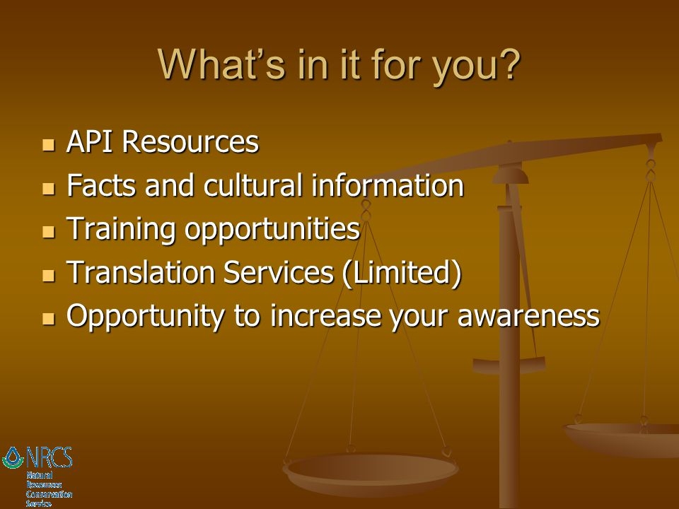 What's in it for you API Resources Facts and cultural information