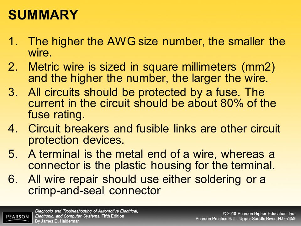 Objectives after studying chapter 10 the reader should be able to summary the higher the awg size number the smaller the wire greentooth Image collections