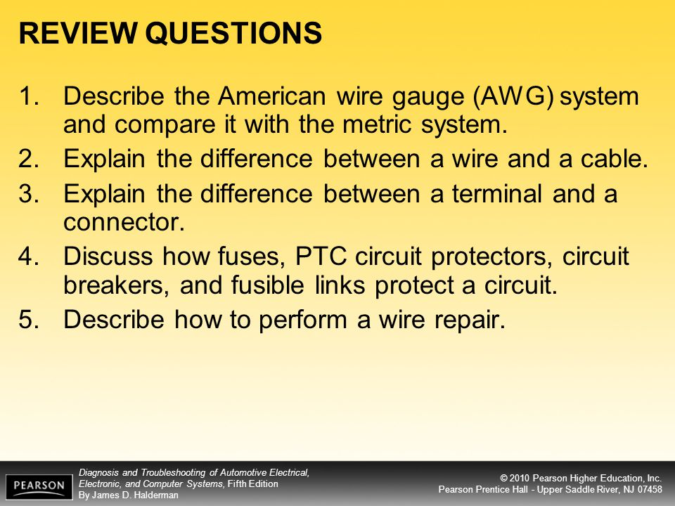 Objectives after studying chapter 10 the reader should be able to review questions describe the american wire gauge awg system and compare it with the greentooth Image collections