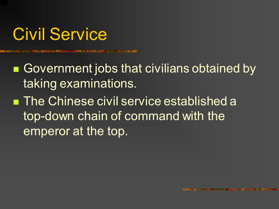 Civil Service Government jobs that civilians obtained by taking examinations.