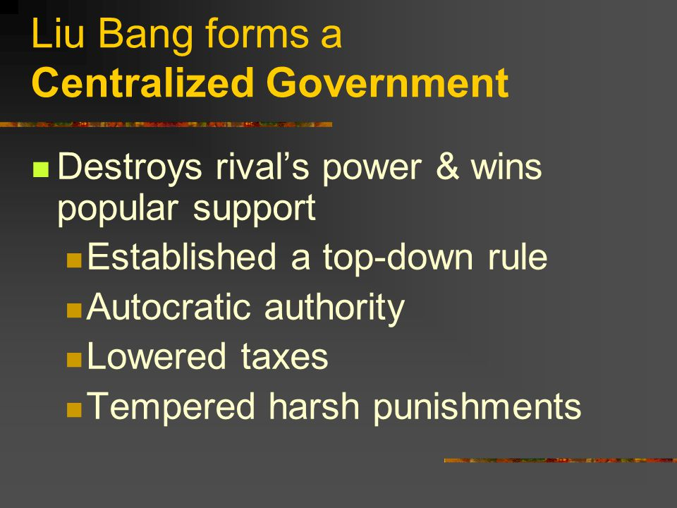Liu Bang forms a Centralized Government