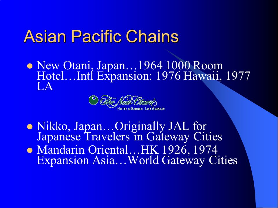 Asian Pacific Chains New Otani, Japan… Room Hotel…Intl Expansion: 1976 Hawaii, 1977 LA.