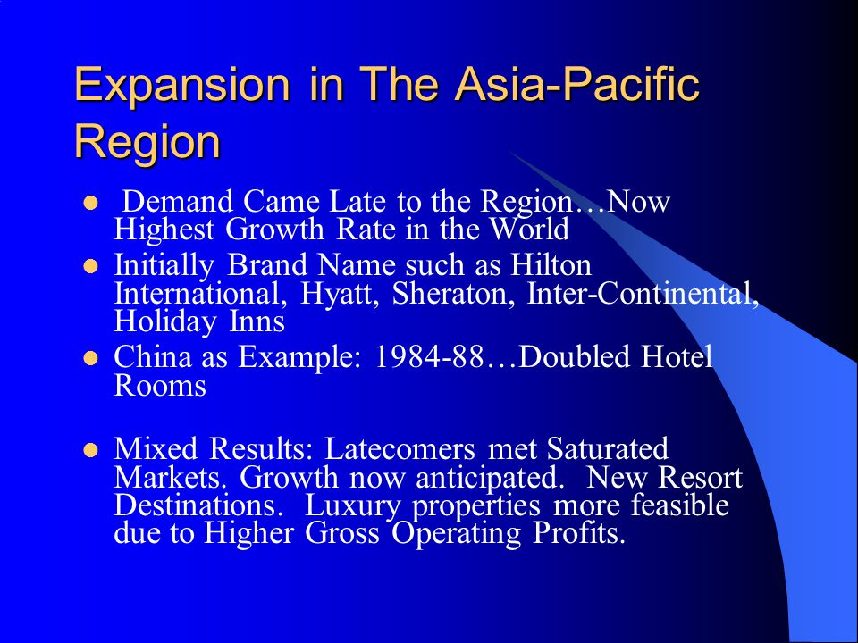 Expansion in The Asia-Pacific Region